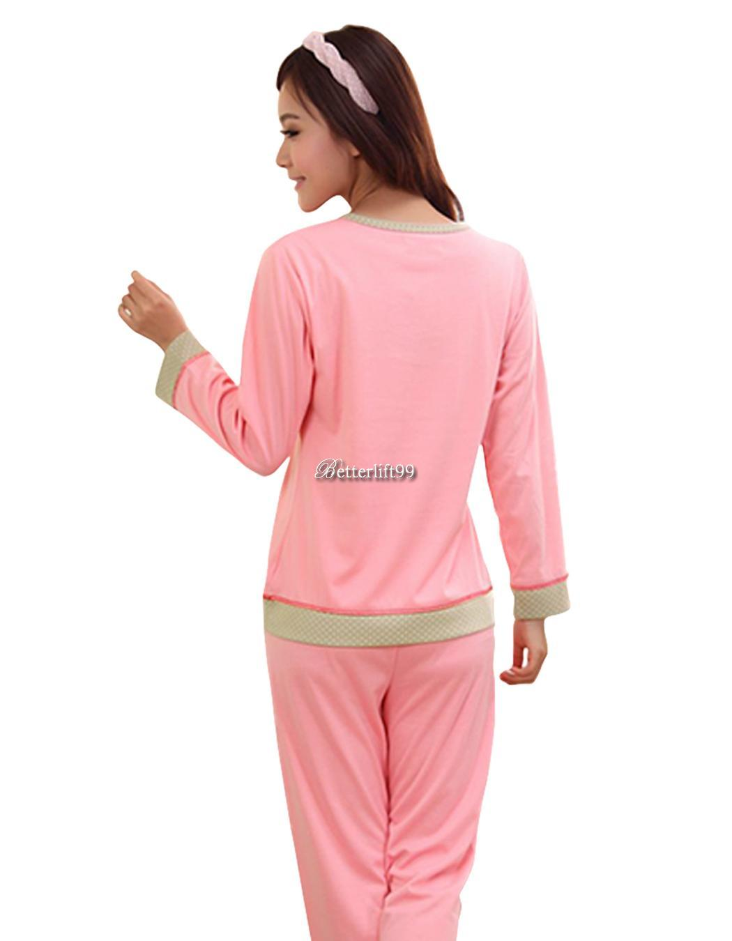 Bf9 women new crew neck long sleeve pajamas shirt pants Long cotton sleep shirts