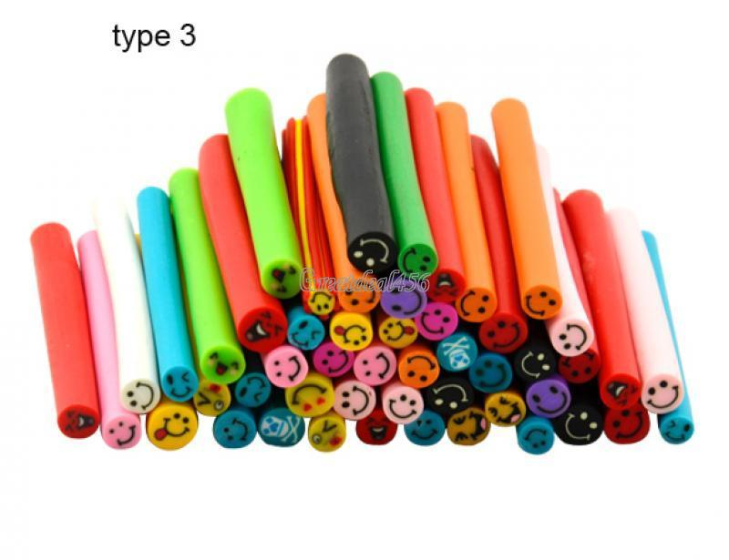 50 smiley fimo canes rod polymer clay nail art stick for 3d nail art fimo canes rods decoration