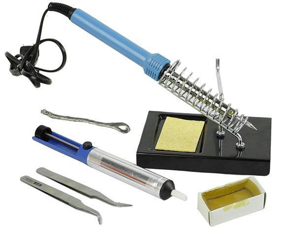 new diy soldering iron tool kit set with iron stand solder desoldering pump lm ebay. Black Bedroom Furniture Sets. Home Design Ideas