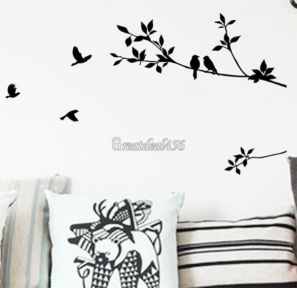 Tree and Bird Removable Wall Art Sticker Vinyl Decal Mural Home ...