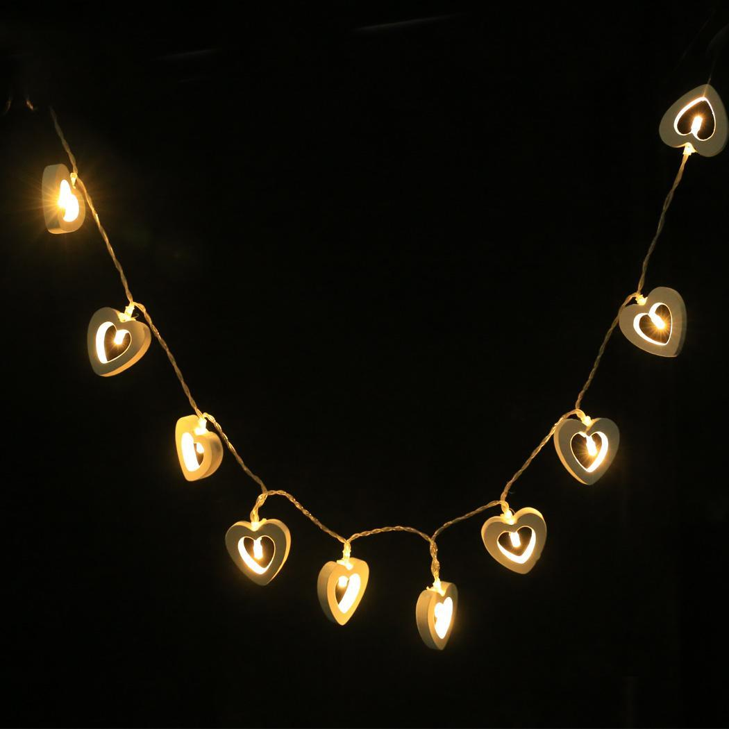 BATTERY 10 WARM WHITE STRING LIGHTS LED STRINGS OPERATED WOODEN HEART FAIRY LM eBay