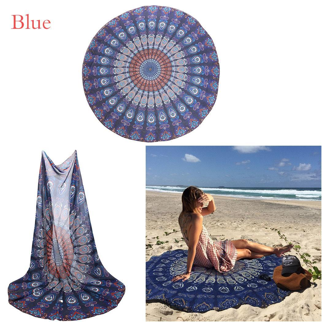 Indian Peacock Mandala Round Tapestry Gypsy Beach Throw