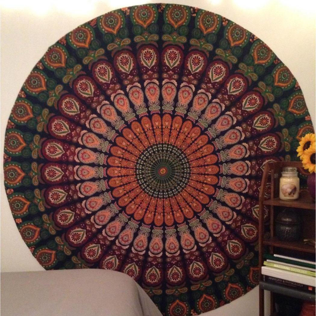 bohemian mandala wandbehang hippie rund strandtuch decke. Black Bedroom Furniture Sets. Home Design Ideas