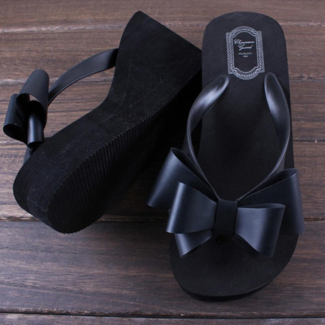 f4bc1b55840c Ladies Summer Platform Flip Flops Thong Wedge Beach Sandals Knotbow ...