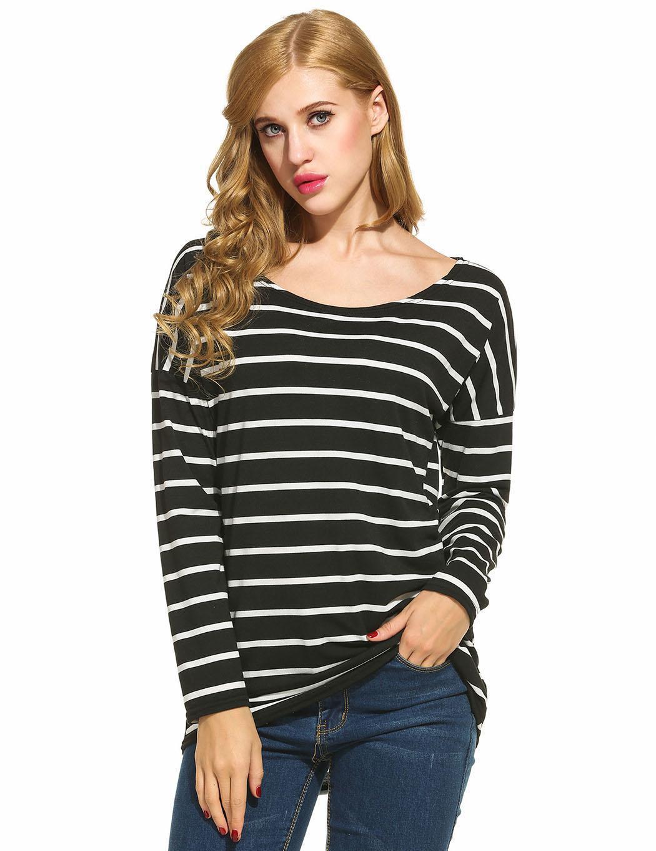 09f97b0620e21 Women Long Sleeve Black+White Stripe Casual Loose Tops T-shirt ...