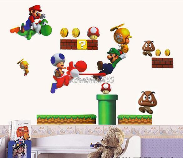 Super Mario Bros PVC Removable Wall Sticker Home Decor for Kids Children Room