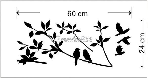 Tree and Bird Removable Wall Art Sticker Vinyl Decal Mural Home DIY Decor PVC