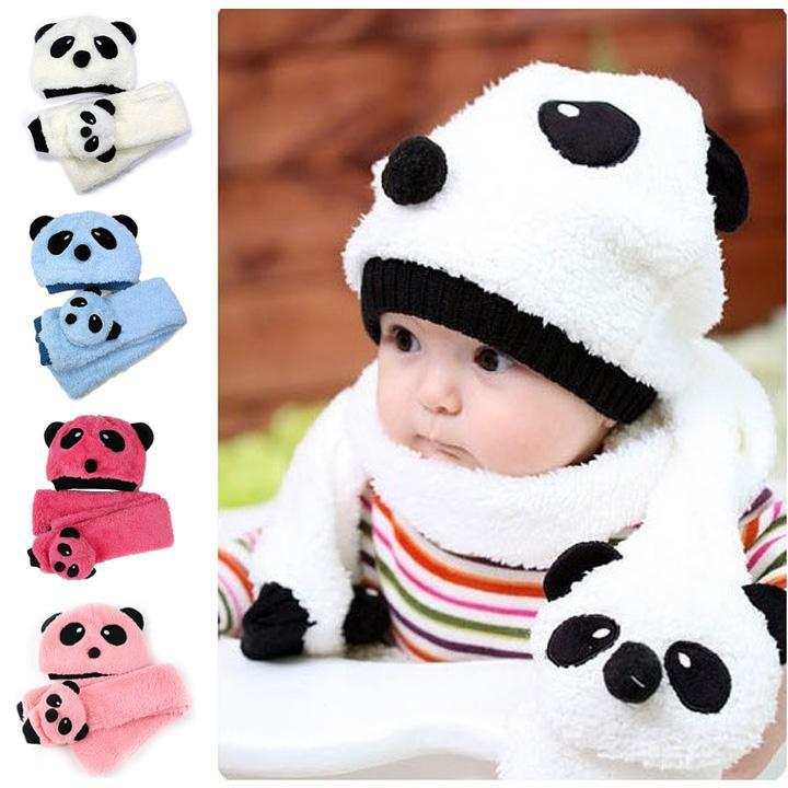 6c3bf6ce85d Details about Winter Baby Toddler Boys Girls Kids Warm Cute Panda Hat Cap  Beanie Scarf Set Hot