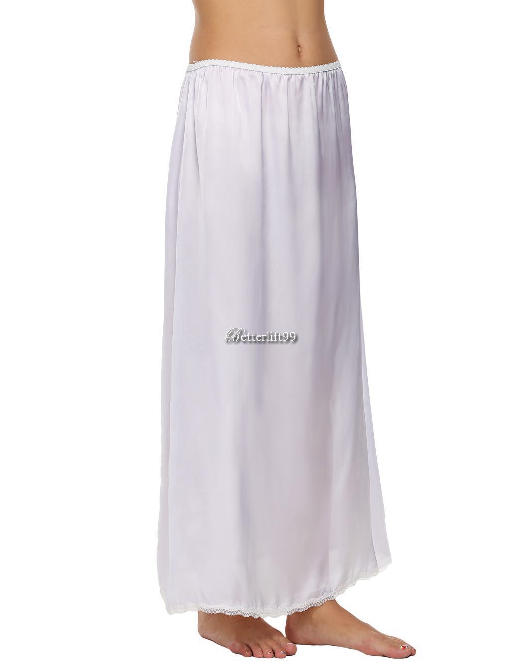 36f9c96440bf6 Details about Avidlove Women Satin Solid Lace Trim Maxi Half Slip  Underskirt Slip Skirt BF901