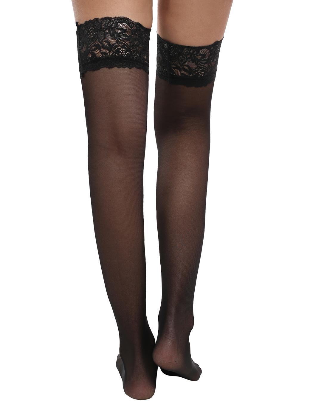 da620a9be Avidlove Women Silk Reflections Lace Top Sheer Thigh High Stockings ...