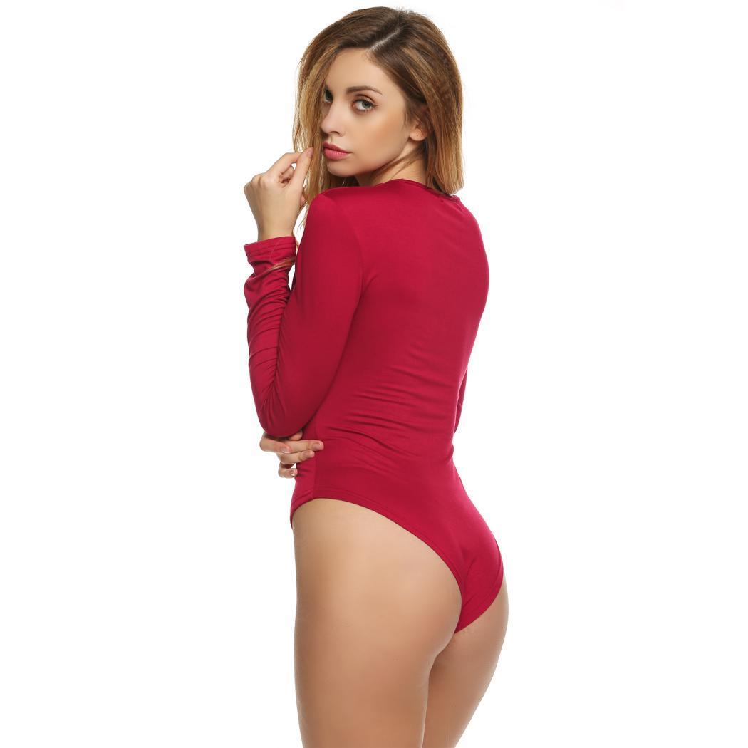 d17aff16dd Women Casual V-Neck Long Sleeve Lace Up Stretch Bodysuit Jumpsuit ...