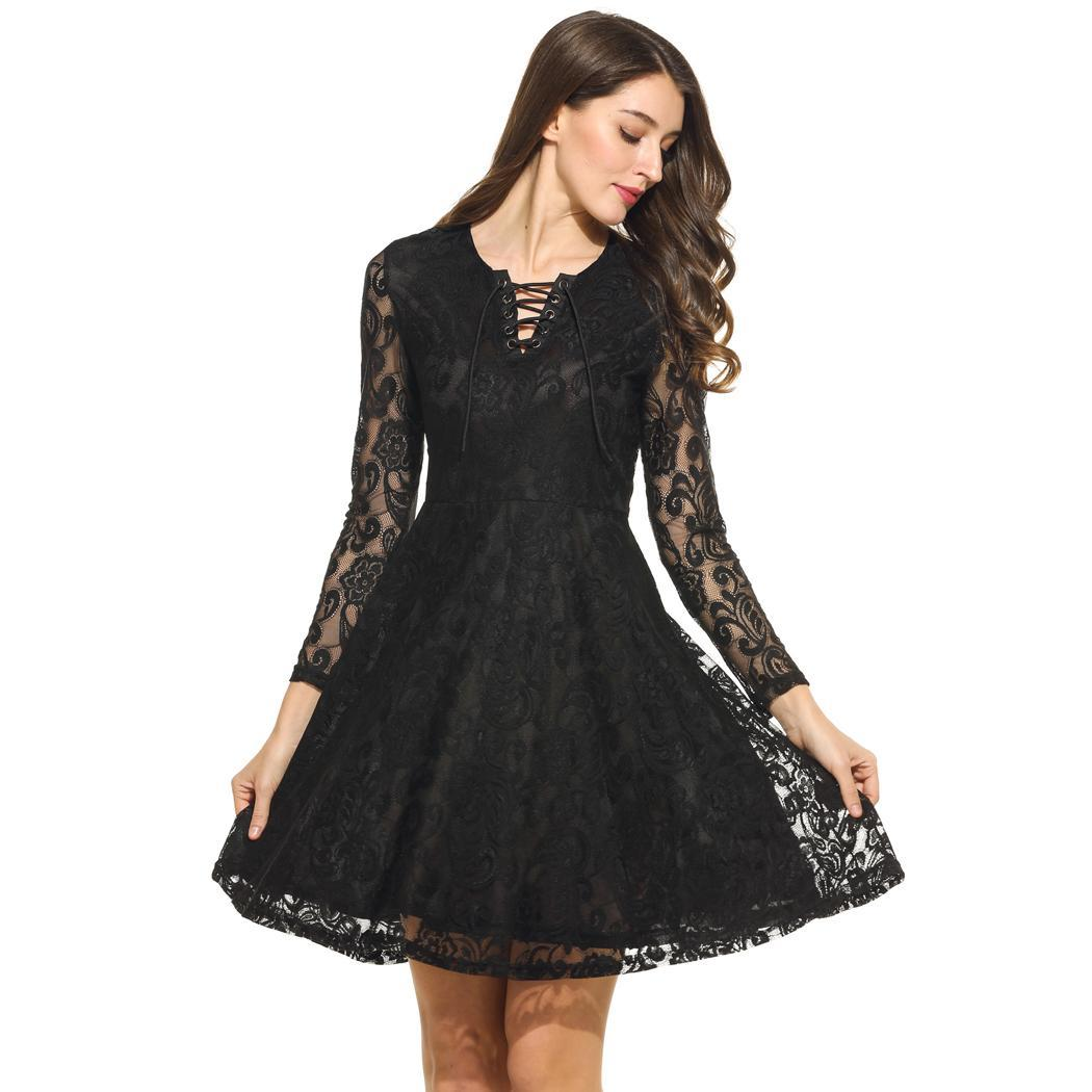 Details About Women Lace Up O Neck Long Sleeve Floral Lace Cocktail Party Skater Dress Wt88 01