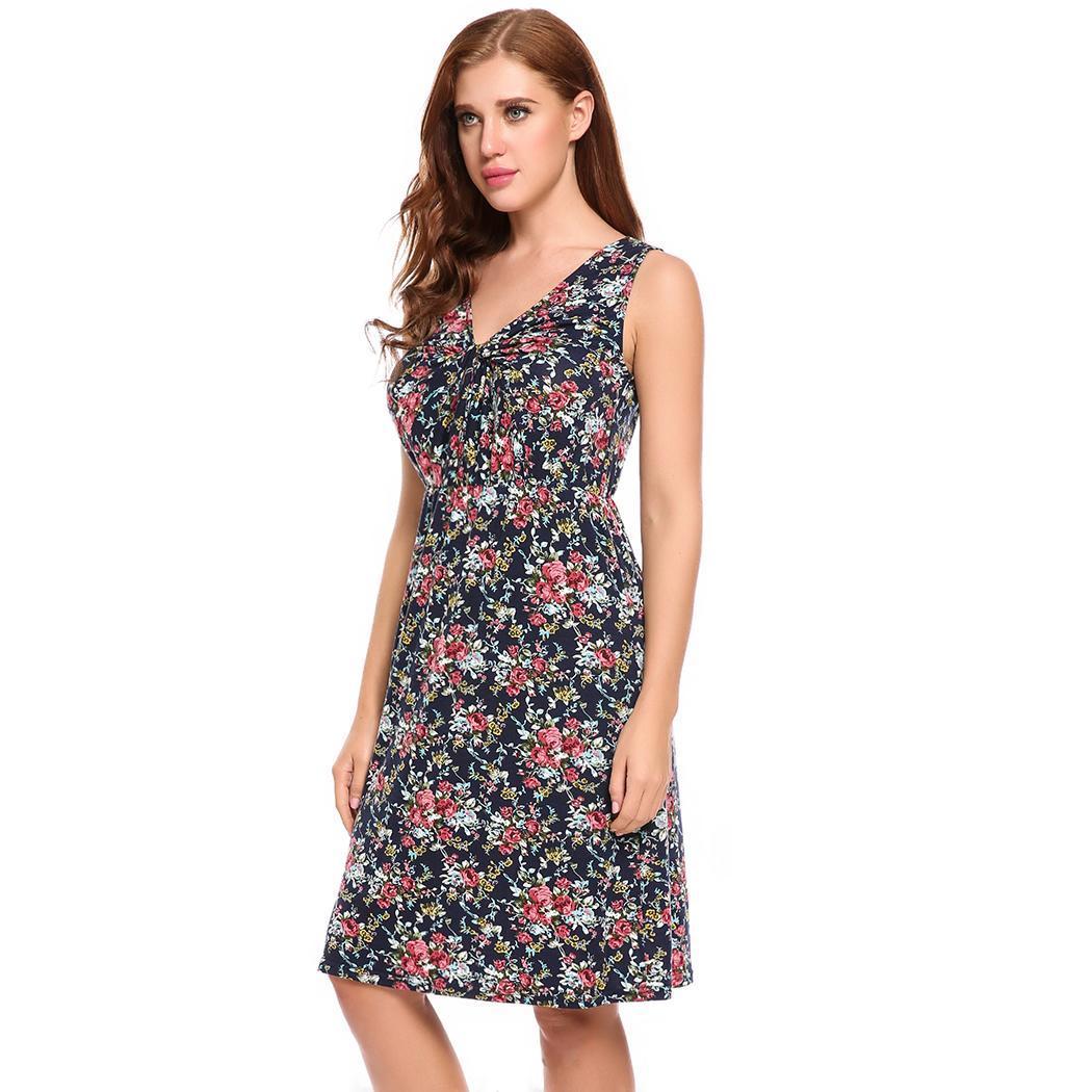 f58ccb7c2db Women s Sleeveless V-Neck Twist Knot Front Floral Print A-Line Dress ...