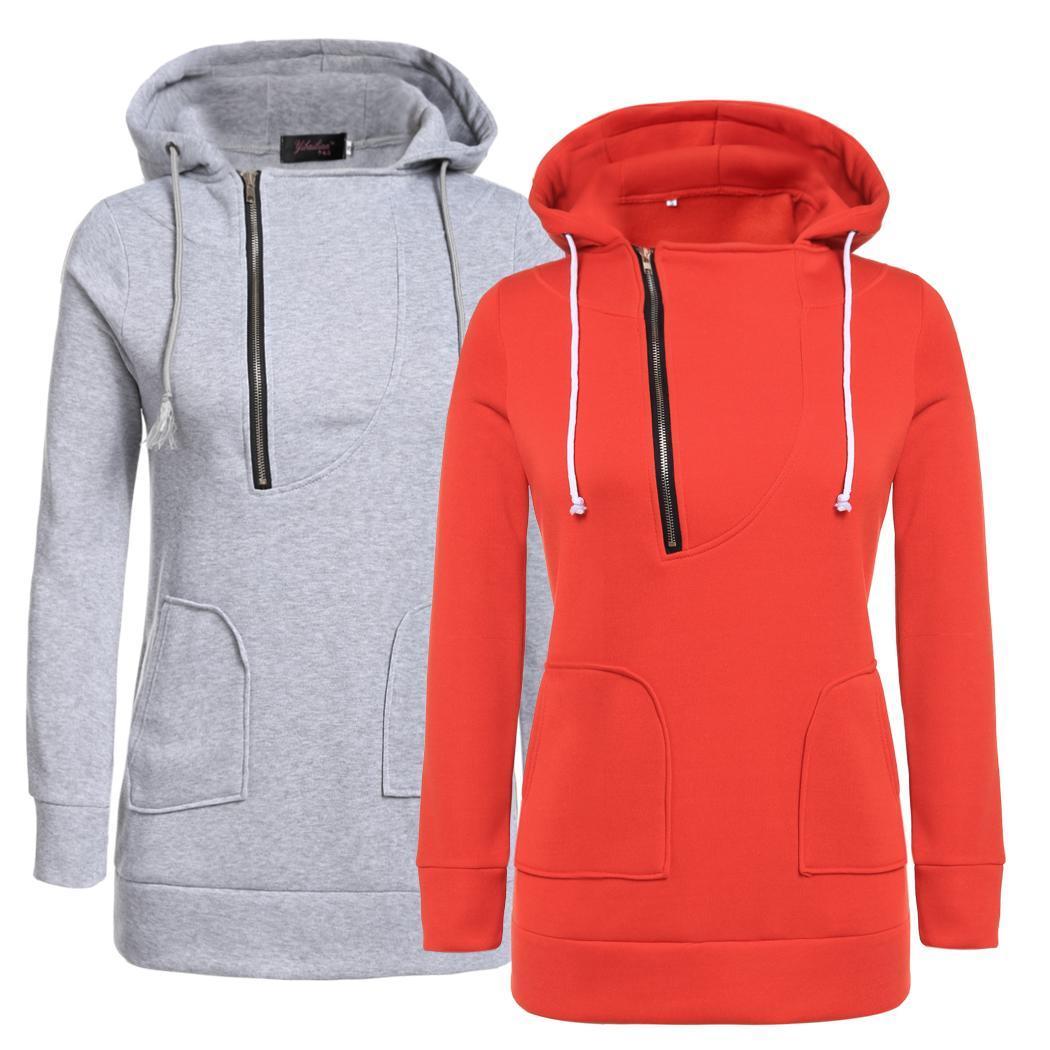 donne casuali hoodie maglione felpa top coat con cappuccio giacca pullover SA88