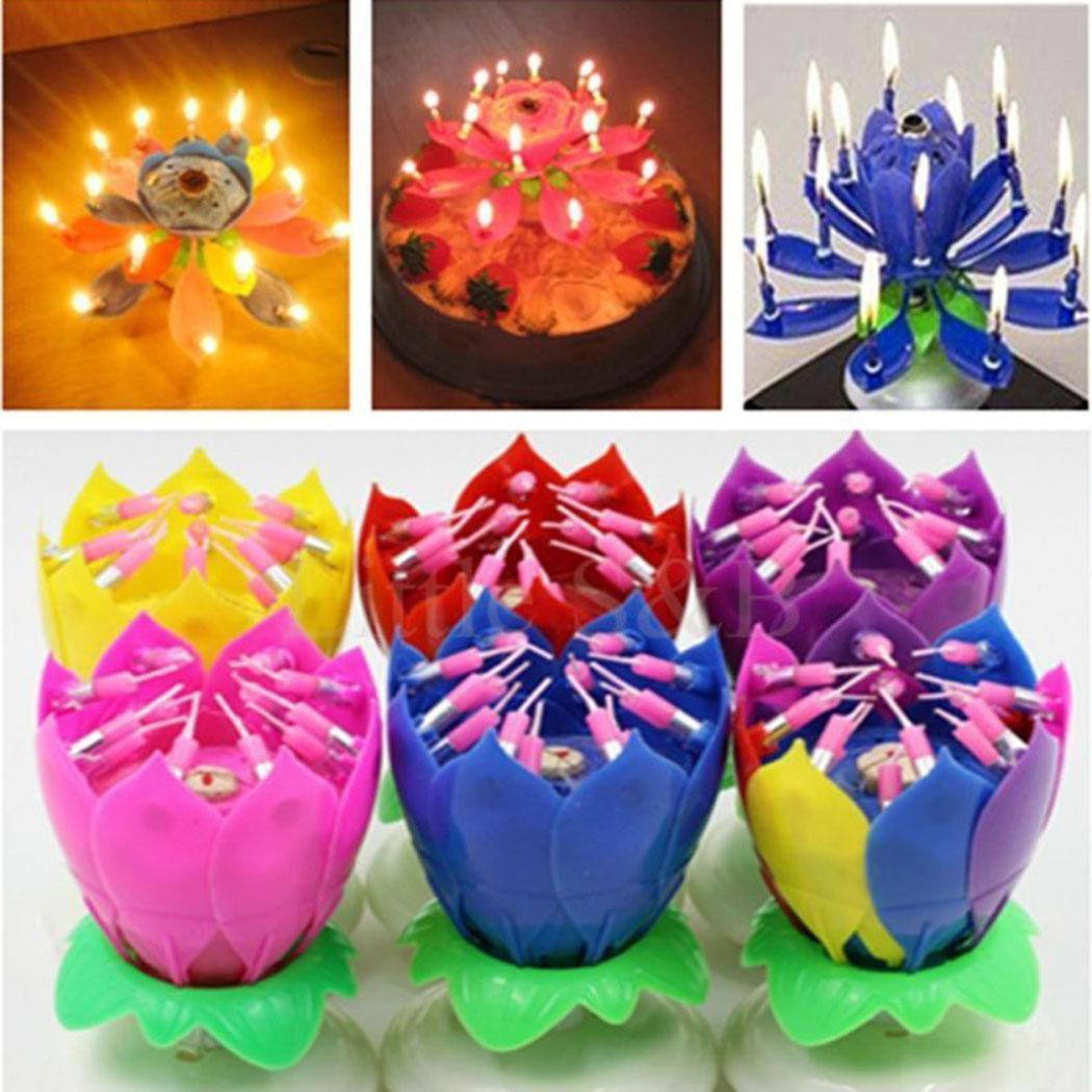 Details About Lotus Flower Birthday Candle Musical Double Deck Party Cake Topper Decoration OM