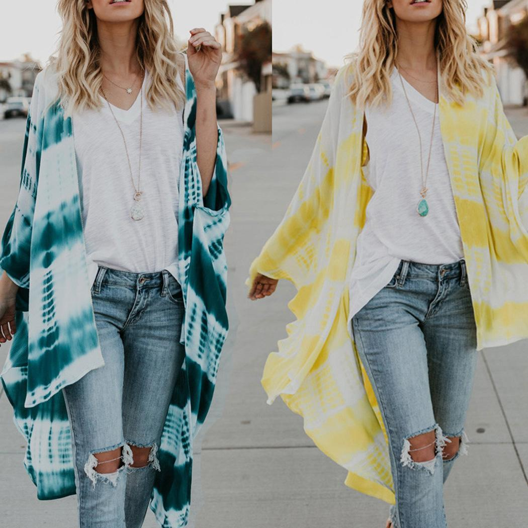 cb45d389d7540 Details about Women Casual Loose Tie Dye Print Chiffon Beachwear Cardigans  Cover Up WT88