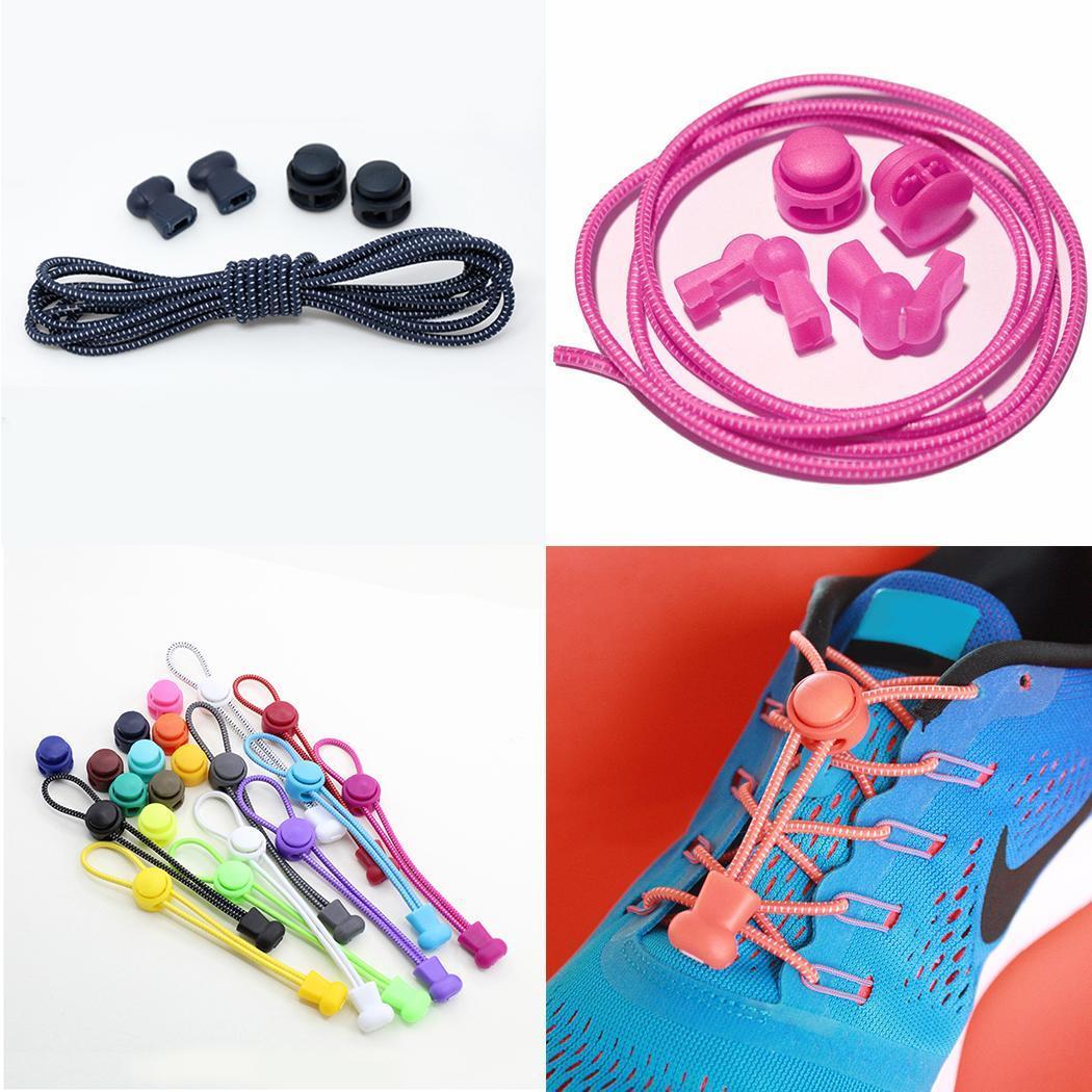 57ef97223a45 Details about Elastic Shoelaces Lock Laces No Tie Triathlon Running Jogging  Elasticated Lace A